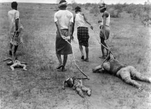 Mukti Bahini insurgents dragging the bodies of non-Bengalis during 1971